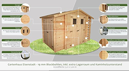 gartenhaus eisenstadt 312 x 200 cm inkl kaminholzlager. Black Bedroom Furniture Sets. Home Design Ideas