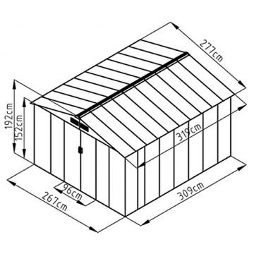 Gartenhaus Svita Metall 277 x 309 cm grau