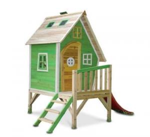 Spielhaus Holz mit Rutsche und Veranda