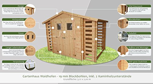 gartenhaus waidhofen 312 x 200 cm inkl 2 kaminholzlager. Black Bedroom Furniture Sets. Home Design Ideas