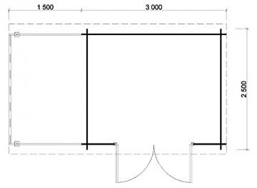 Gartenhaus Maria-40 ISO Carlsson 450 x 250 cm