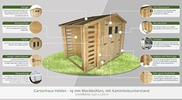Gartenhaus Velden 256 x 200 cm mit Kaminholzunterstand Steiner Shopping