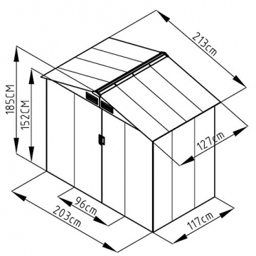 SVITA Metall Gerätehaus 213x127x185cm dunkelgrau