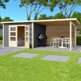 HORI® Gartenhaus Skagen mit Anbau 575 x 275 cm 28 mm