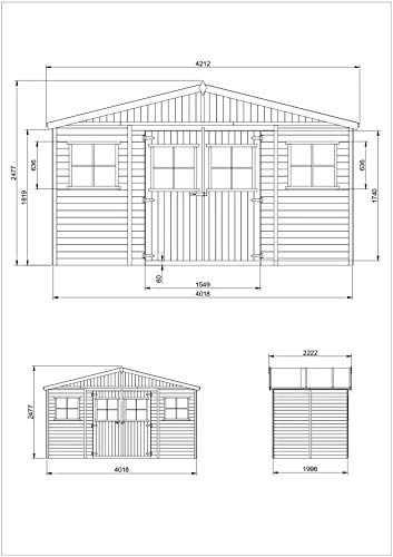 TIMBELA M332 Blockbohlen Gartenhaus